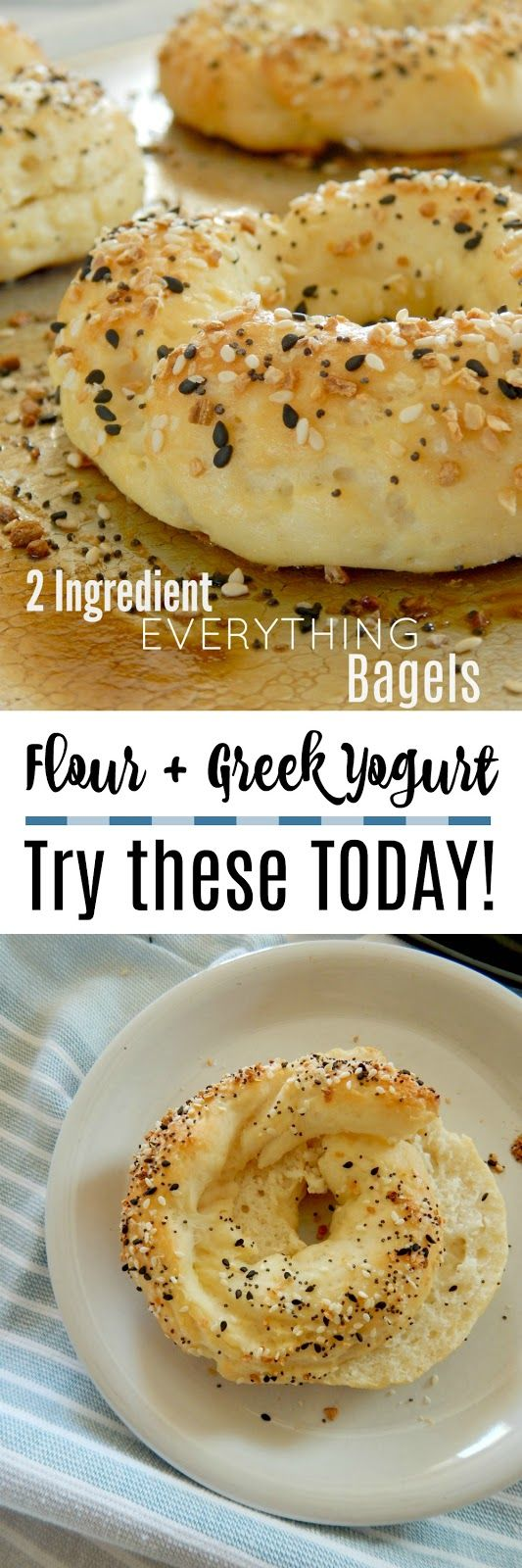 2 Ingredient Everything Bagels...just Greek yogurt and flour make these bagels!  Plus a few extras.  Soft, chewy and most of all, EASY!