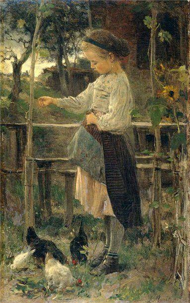 Feeding The Chickens by Jacob Henricus Maris (1837 - 1899, Dutch)