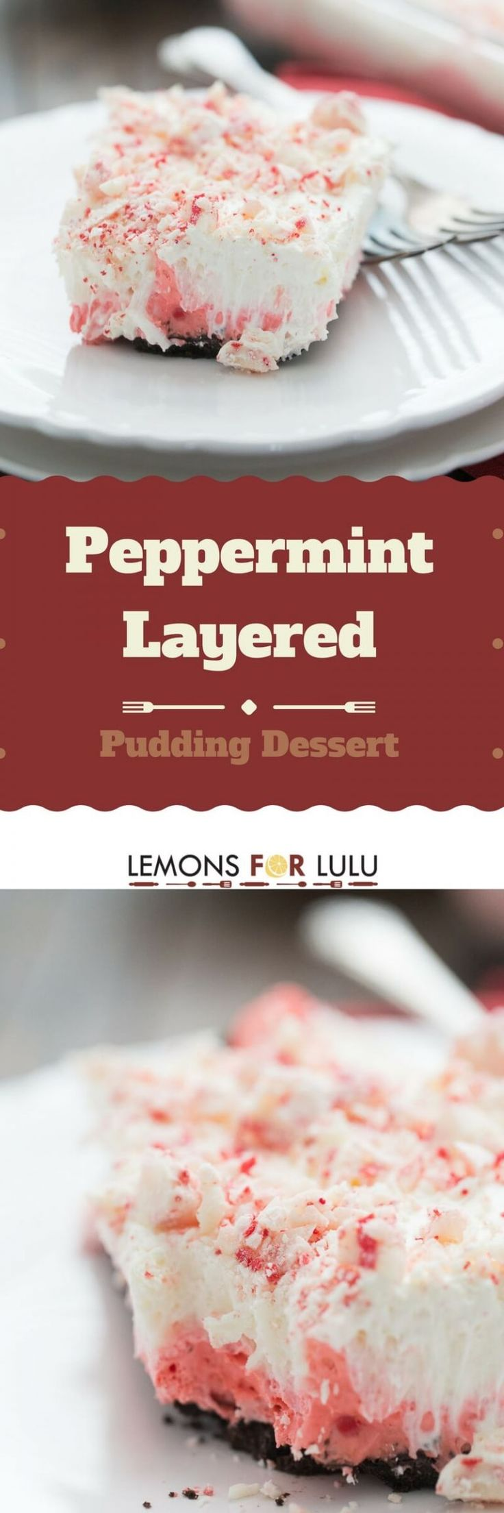 This pudding dessert recipe has four individual layers that come together to create this creamy and festive holiday dessert!  The peppermint flavor really shines; this is a must for the holidays!