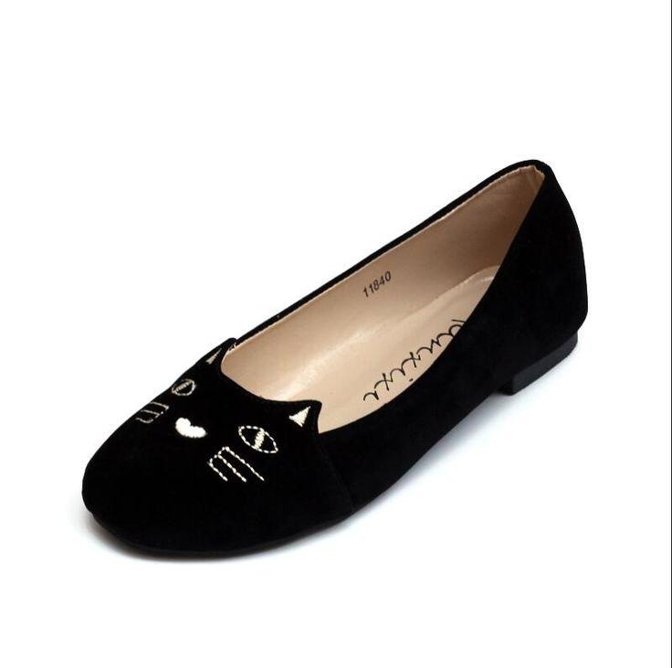 Goedkope Hot Star Schoenen 2016 Nieuwe Zwart Merk Vrouwelijke Platte Schoenen Vrouwen mode Katten Borduren Flats Suede PU Plus size Casual Schoenen Vrouw, koop Kwaliteit vrouwen flats rechtstreeks van Leveranciers van China: Let:onze Schoenen isChinese maat.kies de schoenen maat volgens uw voetlengte.bijvoorbeeld:als uw voet lengte is 24 cm, u
