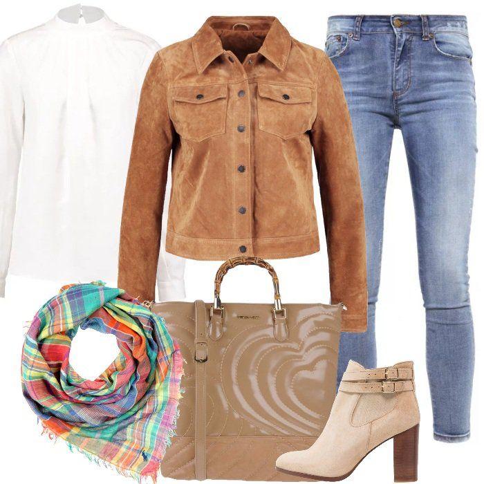 Tutti+i+giorni+regaliamo+un+po'+d'allegria+al+nostro+look+con+un+bellissimo+foulard.+In+questo+caso+l'ho+scelto+orange+madras+con+fantasia+a+scacchi+e+l'ho+abbinato+a+jeans+skinny,+7/8,+a+vita+alta,+a+camicetta+snow+white+e+a+giacca+di+pelle+scamosciata+tobacco+brown.+Stivaletti+beige+con+effetto+scamosciato+e+splendida+shopping+bag+cammello+completano+questo+outfit+molto+glamour+perfetto+anche+per+l'ufficio.