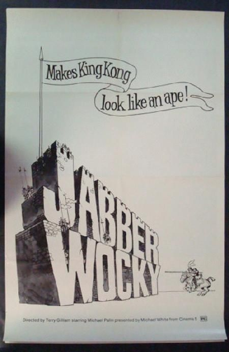 Original one sheet movie poster for Jabberwocky directed by Terry Gilliam and starring Michael Palin, Harry H. Corbett and John Le Mesurier from 1977. 27 x 41 inches. Folded. Light handling marks and edge wear. Small tears at left edge.
