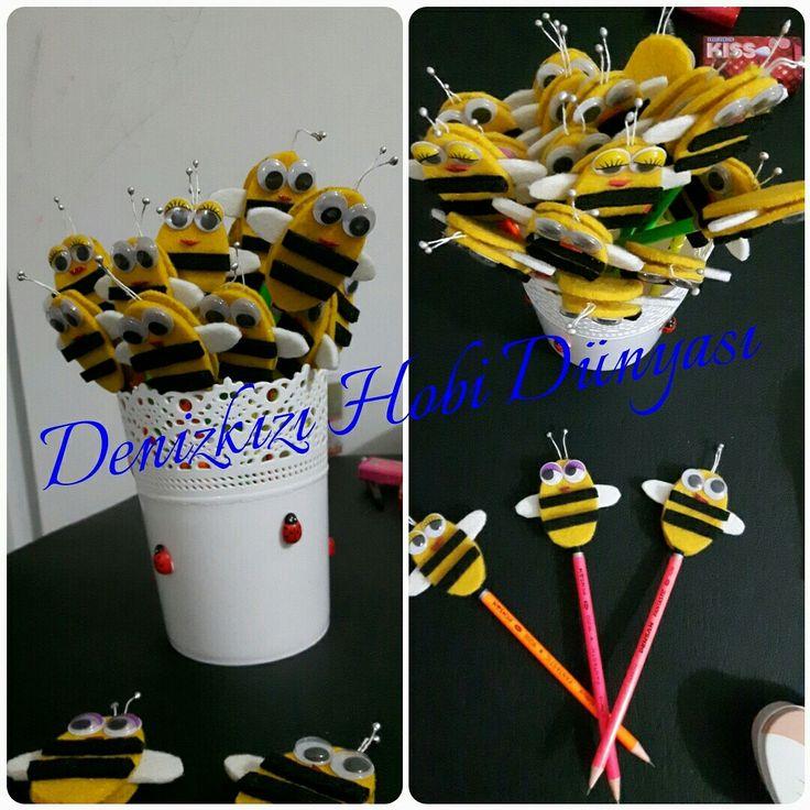 Keçe arı figürlü kalemler...