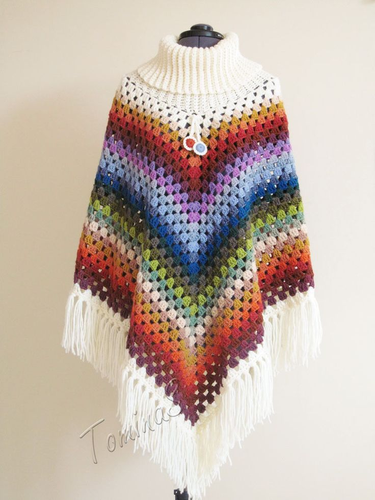 Crochet poncho - cowl neck poncho - autumn poncho - spring poncho - handmade crochet ponchos - poncho granny squares - rainbow color - colorful cloth