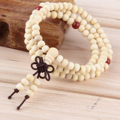 Beige Natural Sandalwood Meditation Beads