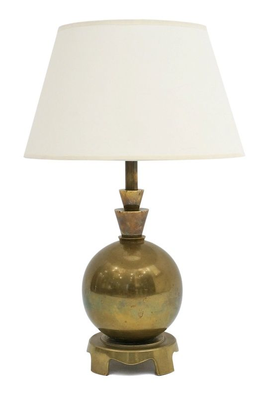 64992115680 Brass Table Lamp With Ball Detail