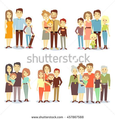 Set of happy family, illustration of groups different families