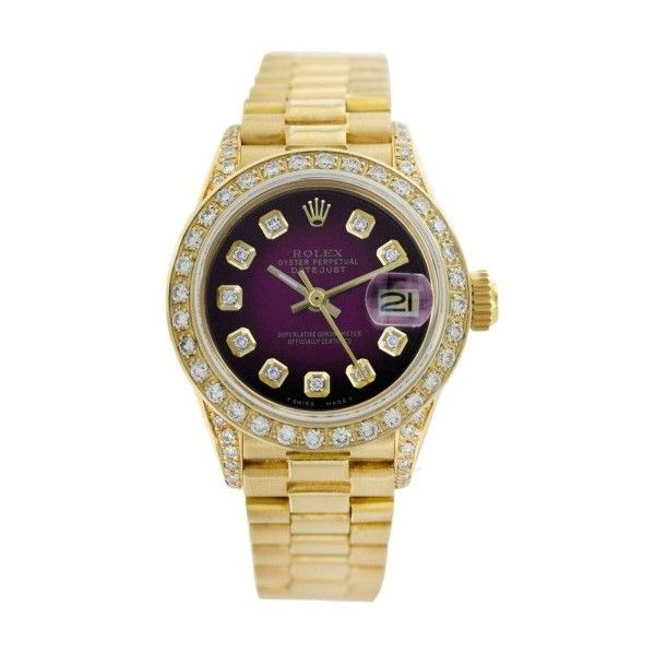 Pre-owned Rolex Datejust 6917 18K Gold Diamond Dial/Diamond Bezel 26mm... ($6,989) ❤ liked on Polyvore featuring jewelry, watches, gold diamond watches, rolex watches, diamond dial watches, pre owned watches and rolex wrist watch