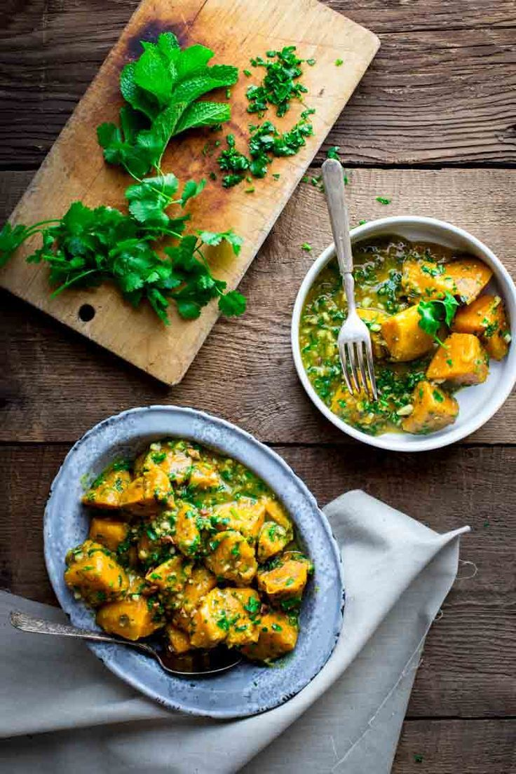 Sweet Potatoes with Coconut Curry and Mint by Katie Webster on Healthy Seasonal Recipes | vegan, paleo, whole 30, gluten-free