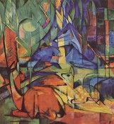 Rehe im Walde (II) - Franz Marc - Gemälde Reproduktionen in Premium Qualität auf paintify.de #paintify #Kunst #Dekoration #Franz_Mark #shopping #handgemalt  #Gemaelde #Oelgemaelde #Foto  #Reproduktionen #Alte_Meister #Geschenk #personalisierte #Geschenke #Geschenkidee #Geschenkideen #historisch #Tiere #Animals #Rehe