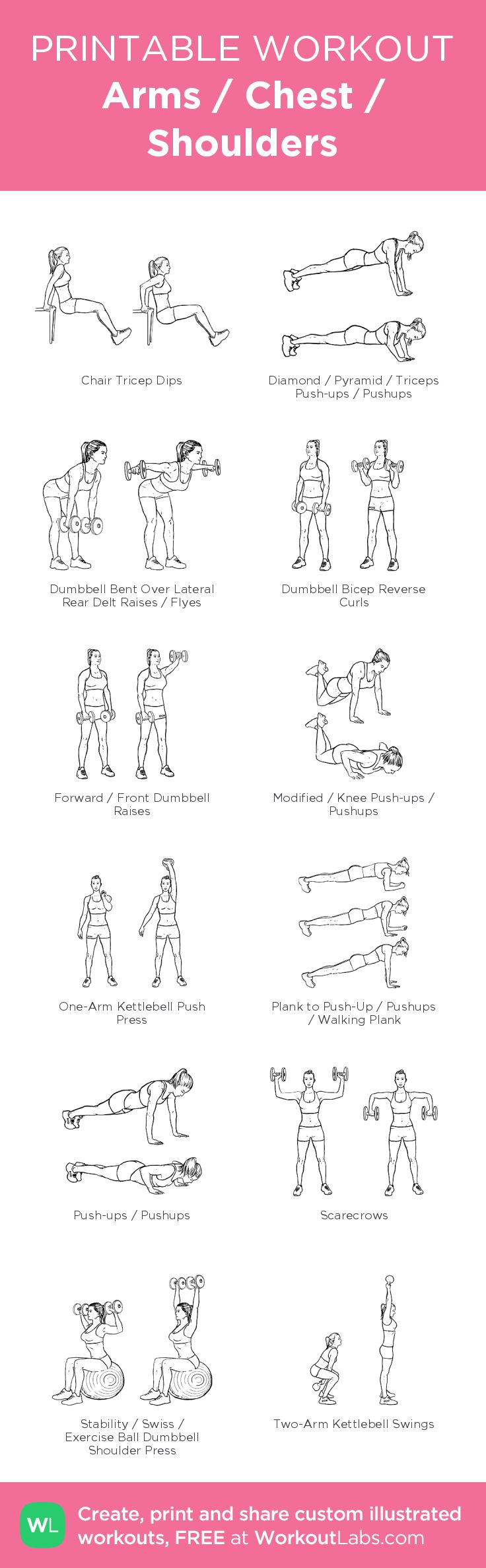 Arms / Chest / Shoulders– my custom exercise plan created at WorkoutLabs.com • Click through to download as a printable workout PDF #customworkout