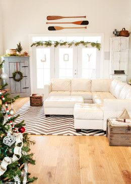 holiday decor contemporary family room columbus julie ranee photography joy and garland over three windows in great room