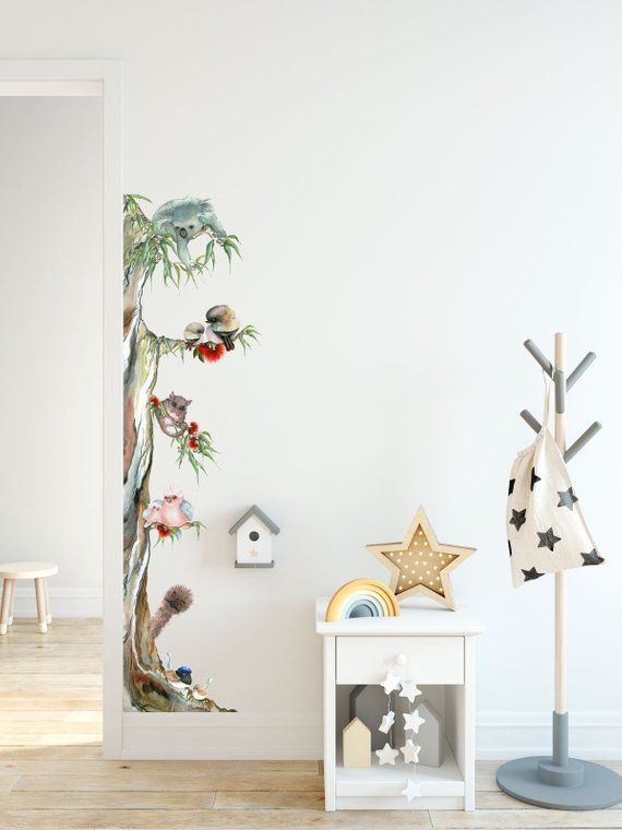 Australian Animal Tree Removable Fabric Watercolour Wall Sticker For Bedroom Or Nursery Decoration Nursery Wall Stickers Wall Stickers Bedroom Tree Wall Stickers