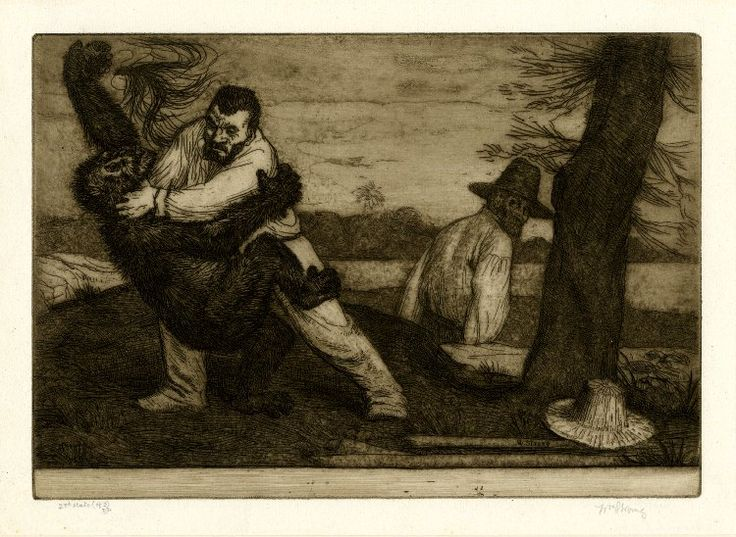 Bertran fighting the orang utan Bimi on a hillock, his hands around the gorilla-like ape's neck; the ape clinging onto him and falling backwards with a surprised expression, the lock of black hair falling out of his left hand; another man, Hans Breitmann, below to right, looking back over his right shoulder at the fight; sea and hills in the distance; second state.  1900 Etching and aquatint