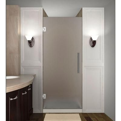 Aston Cascadia 22 in. x 72 in. Completely Frameless Hinged Shower Door with Frosted Glass in Stainless Steel