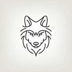 Wolf head mono line logo icon design. vector art illustration