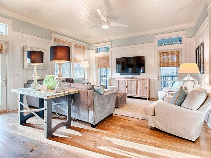 coastal family room mint julep watercolor florida - Family Room Living Room