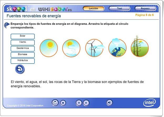 """""""Fuentes renovables de energía"""" (Ciencias Naturales de Primaria). Wikisaber.es."""