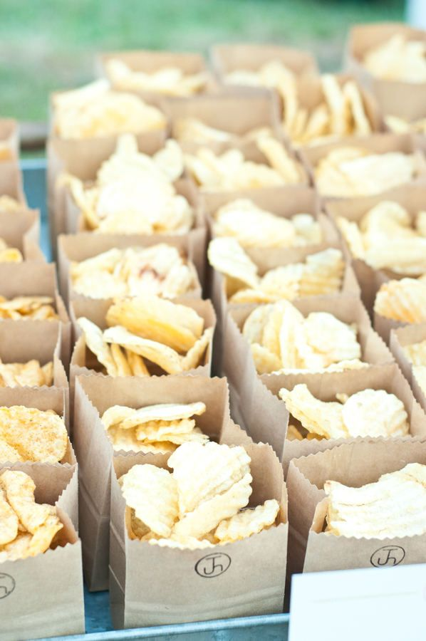 Cropped paper bags would make a great munchie-holder.  Also loving the stamp that looks like a branding symbol.  What an awesome idea for a rustic/western wedding: a custom firebrand symbol made up with your intertwined initials- you could use it everywhere!