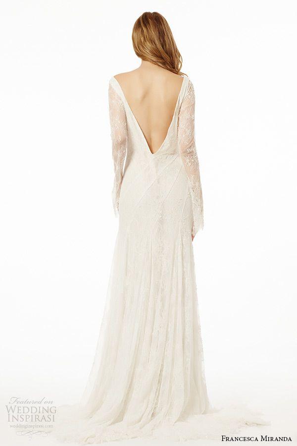 francesca miranda wedding dress fall 2015 sheer lace long sleeves v neckline bridal sheath gown ischia back