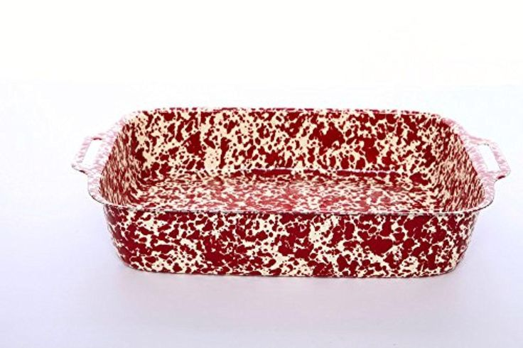 Enamelware Marbled Lasagna Pan, Burgundy on Cream Marble - Brought to you by Avarsha.com
