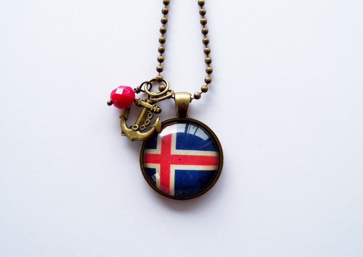 Flag of Iceland - Pendant Necklace - You Choose Bead and Charm - Patriotic Jewelry - Custom Jewelry - Travel Necklace - Blue Red and White by OxfordBright on Etsy https://www.etsy.com/listing/198550537/flag-of-iceland-pendant-necklace-you