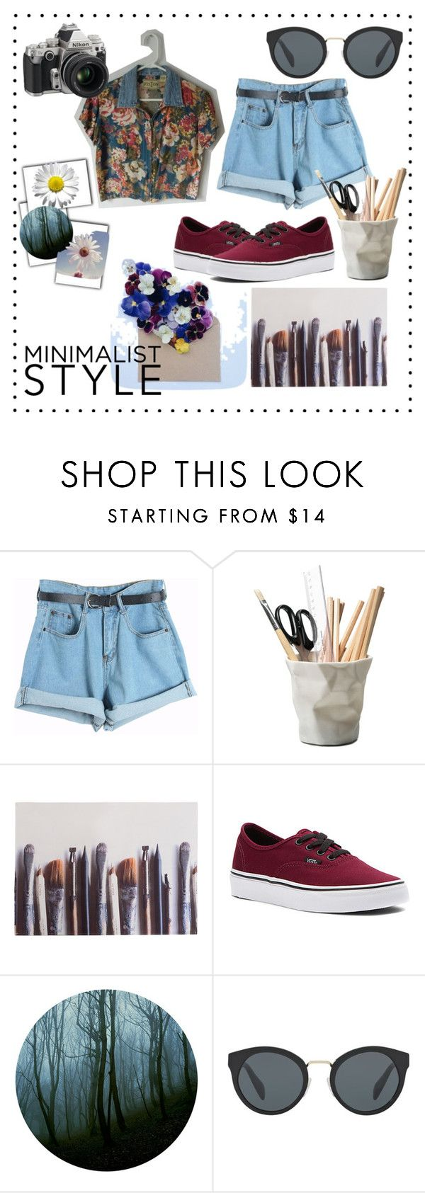 """Sin título #246"" by camilazeballo on Polyvore featuring moda, Chicnova Fashion, ESSEY, Ella Doran, Vans, Nikon y Prada"