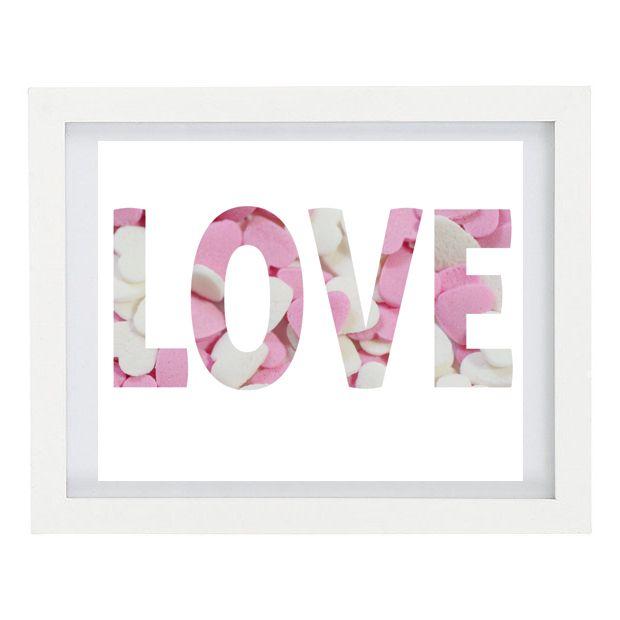 Heartfelt Fundraiser - LOVE Candy heart art print, 8 x 10 Typography Photo Print