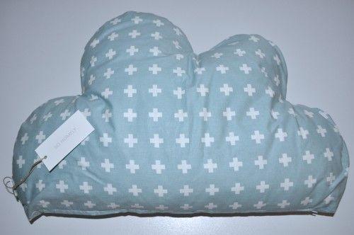 Poduszka chmurka - miętowa w krzyżyki