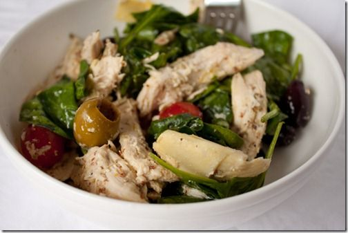 Mediterranean chicken & artichoke salad. I could eat this for lunch everyday! Put this salad in 5 mason jars on Sunday and take it to work through Friday. Delish!