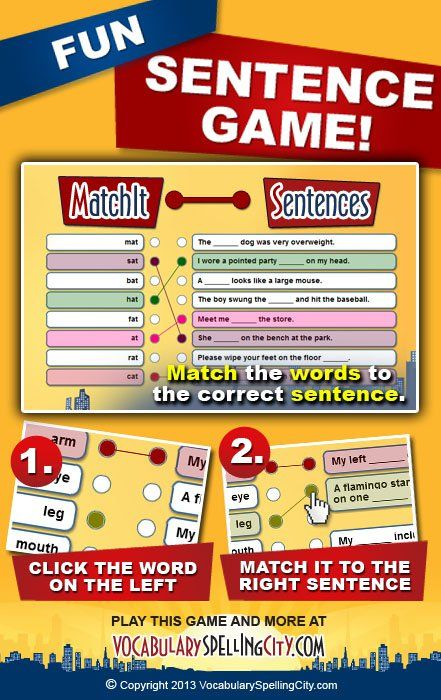Use MatchIt Sentences on VocabularySpellingCity.com to enable students to identify a contextually correct sentence for each spelling and vocabulary word.