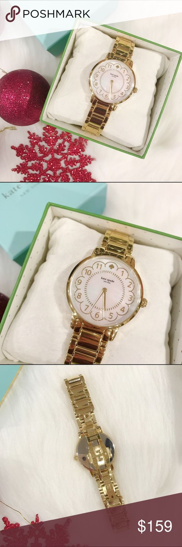 🎅🏻SALE🎅🏻Kate Spade Gold Watch Beautiful Kate Spade watch, brand new with tag, in original box, working batteries, the dial shines like a pearl, gold, dual snap enclosure, care manual. This is the perfect watch for the season!           🌷10% off bundle 2 items or more!🌷                             •NO TRADING                             •no lowballs                             •smoke free                             •fast shipper kate spade Accessories Watches