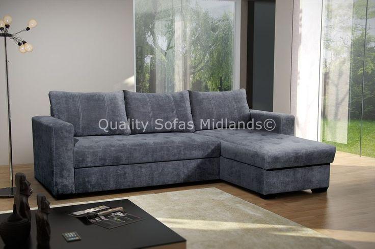 Florida Grey Fabric Corner Sofa Bed With Storage - RH