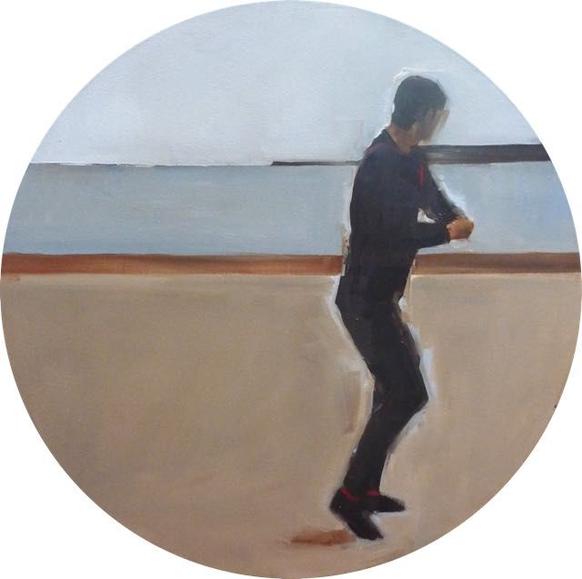 Skipping Stones 3 - 75x75 round Oil on Canvas Nicole Pletts