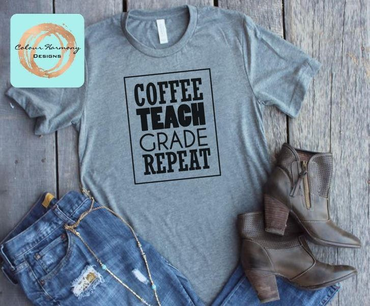 Excited to share the latest addition to my #etsy shop: Coffee Teach Grade Repeat - T-Shirt or Tank Top http://etsy.me/2yWZPuO