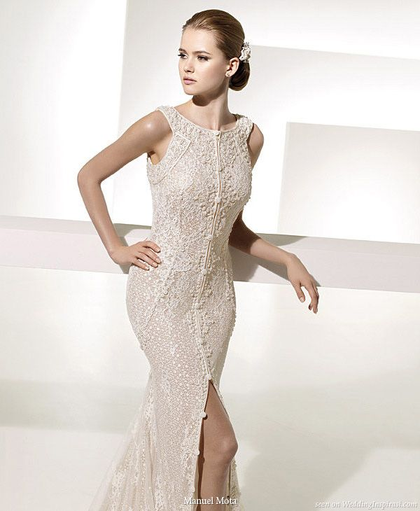 Guipure lace, embroidered with pearls, wedding gown designed by Manuel Mota for Pronovias 2010 collection