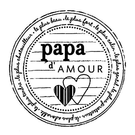 Tampon bois - Papa d'amour - 5,2 x 5,2 cm
