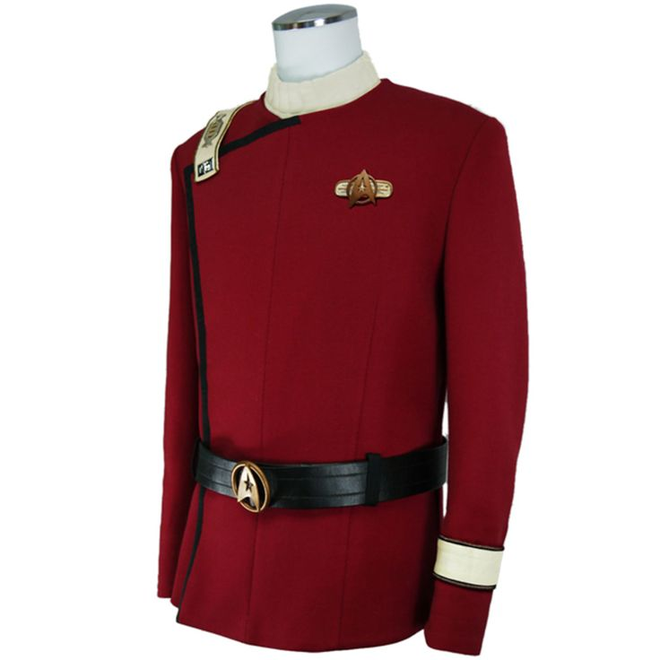 Star Trek TWOK - Captain Spock Uniform - Standard Line | ANOVOS Productions LLC Custom milled and dyed cavalry twill replicating both the look and feel of the original uniform's wool élastique. Lined jacket and pant, with corresponding Command ivory undershirt. Double breasted jacket with iconic offset lapel and hand sewn chain segments and snaps featured on the placket closure. Artificial leather belt with metal Starfleet buckle.