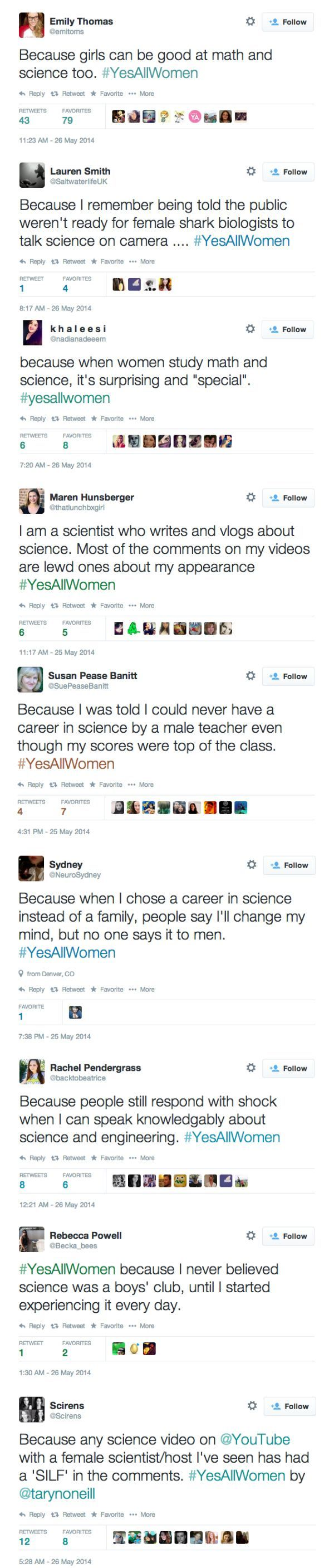 Girls in math and science are rare and special because woman usually take jobs in social sciences and liberal arts. They don't usually get STEM jobs. They are shocked because woman usually chose other things.