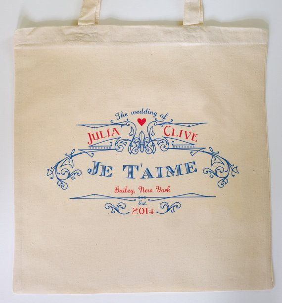 QTY. 10 Custom Printed Wedding Guest Canvas Tote Bags -  Vintage French Je T'amie - I love you