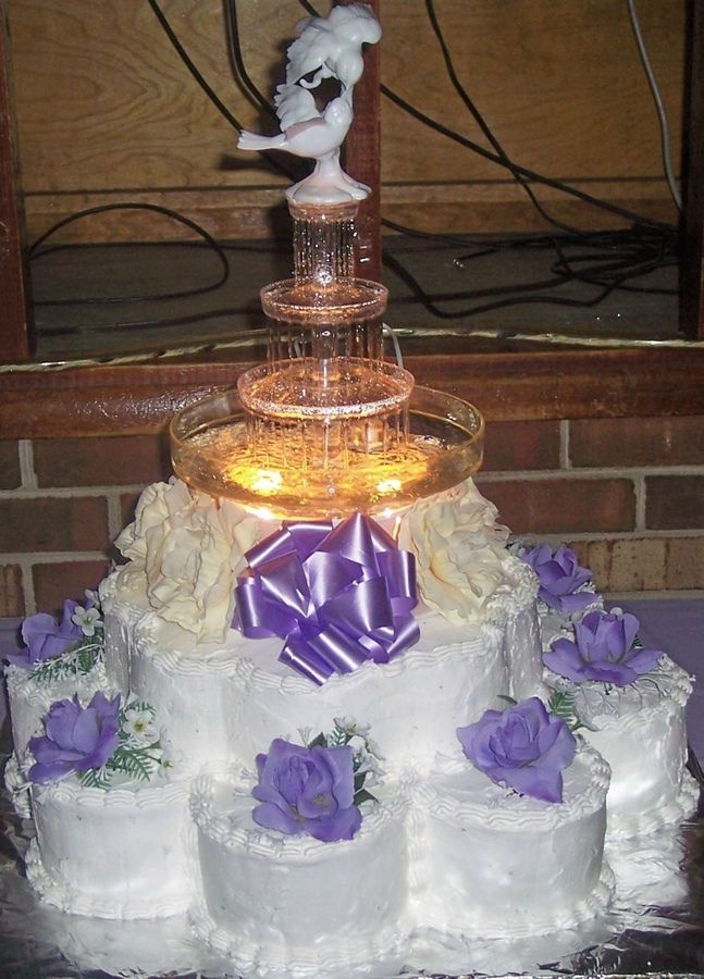 Wedding Cakes with Fountains | In: Purple Fountain Wedding in album: Round Wedding Cakes