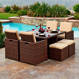 The Hom Mare 9 Piece Outdoor Wicker Dining Set