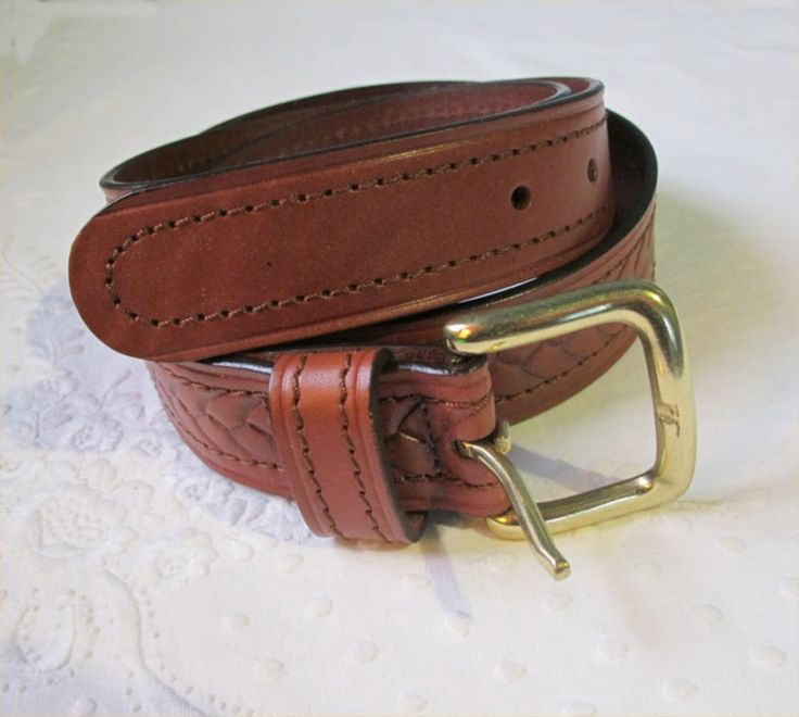 BELT Mens Tan Brown GENUINE LEATHER Tooled plait pattern Brass buckle Classic