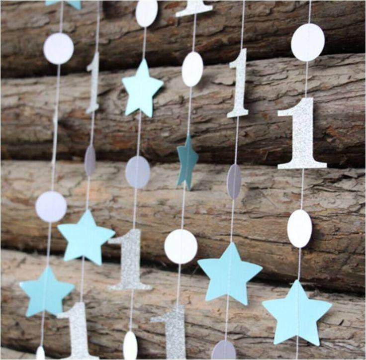 Guirlande de décoration bleu argent pour anniversaire 1 an : Autres bébé par crystal-creations