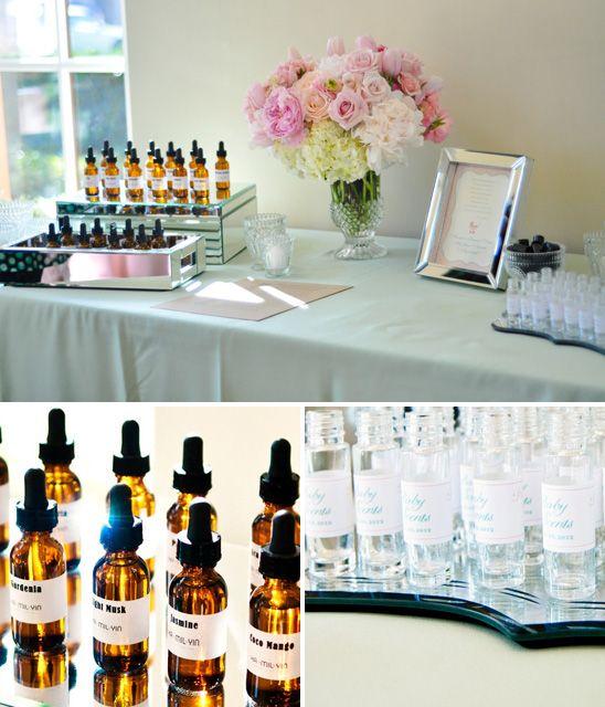 make your own fragrance favor station for baby shower guests favors