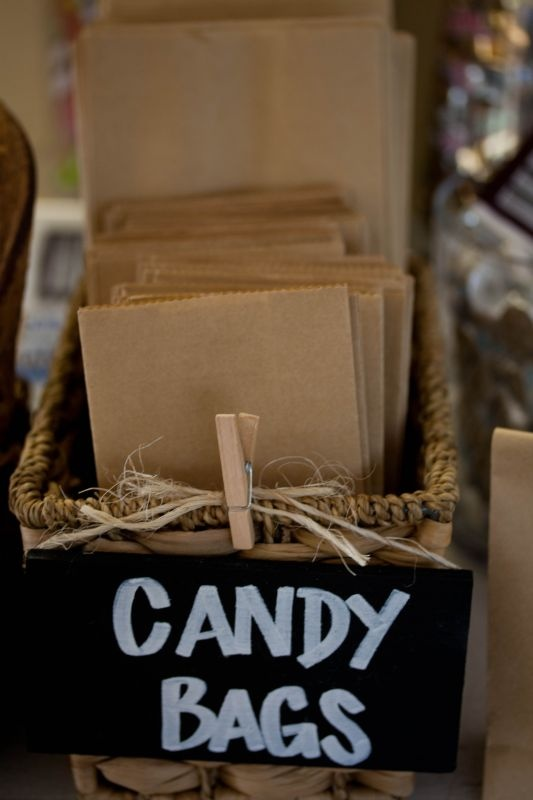Candy Bags simple and cute! Would get a customized stamp with date/couple'sname