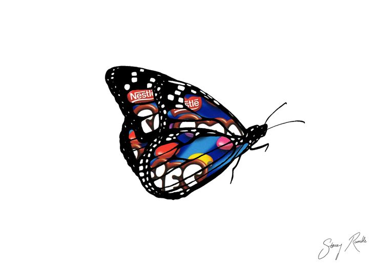 Monarch butterfly - ink drawing with Smarties packaging overlay. Stacey Rumble