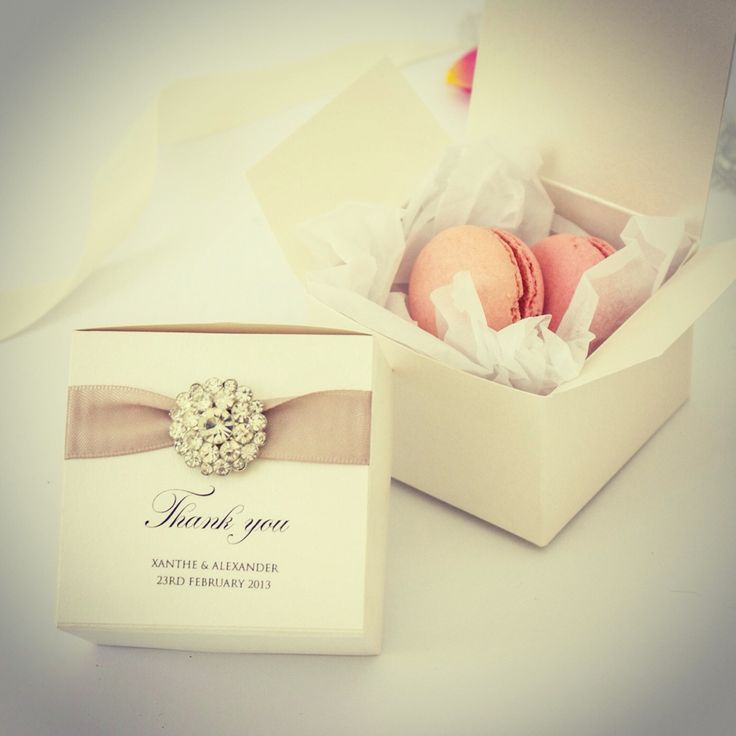wedding boxes - can be filled with macaroons, sweets, fudge or cookies (including a fortune cookie)
