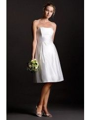 Shantung Strapless Soft Scoop Neckline Empire Wedding Dress
