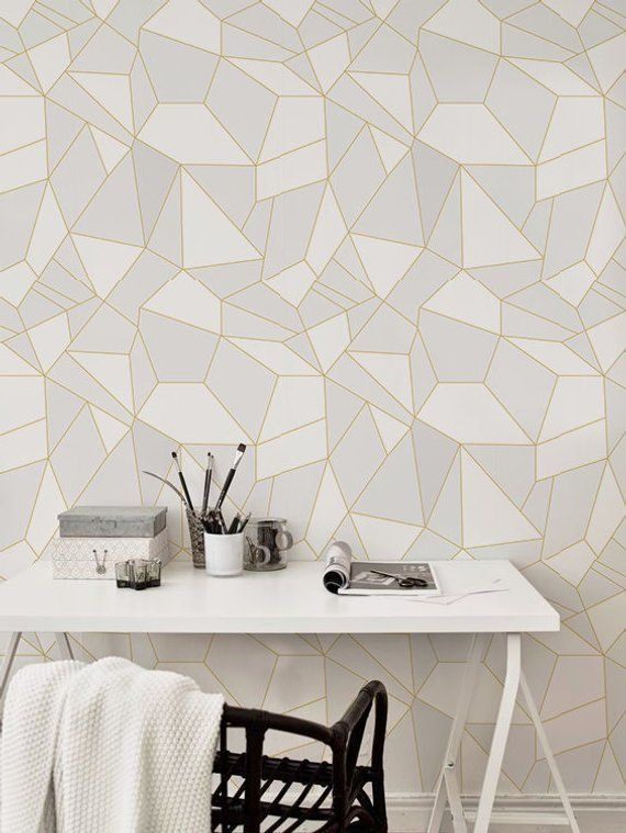 Light triangles removable wallpaper light grey wall